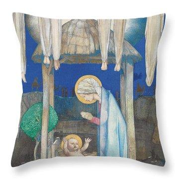 The Nativity Throw Pillow by Edward Reginald Frampton