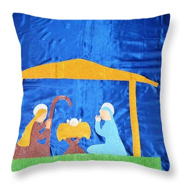 Throw Pillow featuring the painting The Nativity  by Magdalena Frohnsdorff