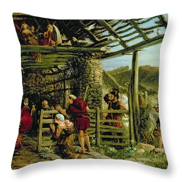 The Nativity Throw Pillow by William Bell Scott