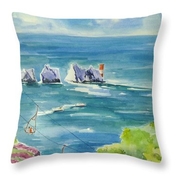 The Needles Isle Of Wight Throw Pillow by Geeta Biswas