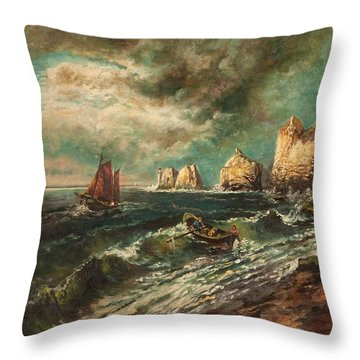 The Needles, Isle Of Wight Throw Pillow