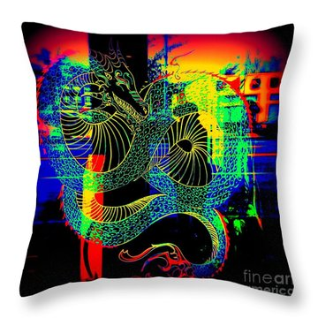 The Neon Dragon Throw Pillow