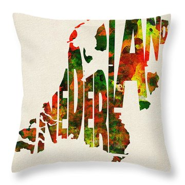 The Netherlands Typographic Watercolor Map Throw Pillow