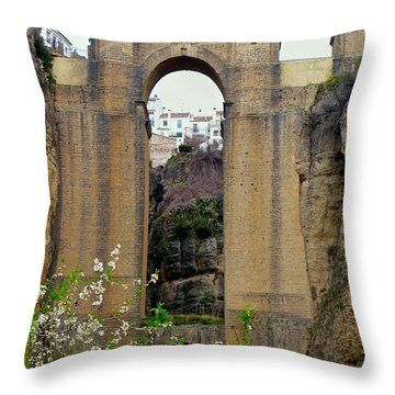 The New Bridge Throw Pillow by Suzanne Oesterling