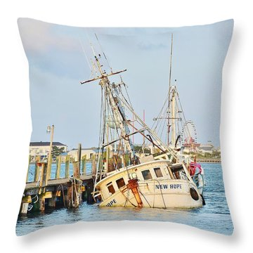 The New Hope Sunken Ship - Ocean City Maryland Throw Pillow