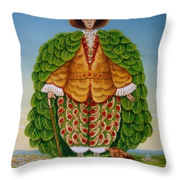 The New Vestments Ivor Cutler As Character In Edward Lear Poem, 1994 Oils And Tempera On Panel Throw Pillow by Frances Broomfield