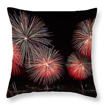 The New York City Skyline All Lit Up Throw Pillow