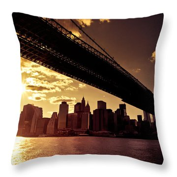 The New York City Skyline - Sunset Throw Pillow by Vivienne Gucwa