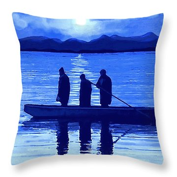 Throw Pillow featuring the painting The Night Fishermen by Sophia Schmierer