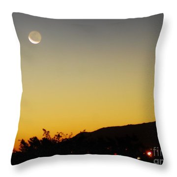 Throw Pillow featuring the photograph The Night Moves On by Angela J Wright