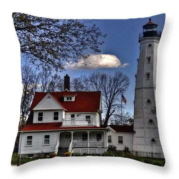 Throw Pillow featuring the photograph The Northpoint Lighthouse by Deborah Klubertanz