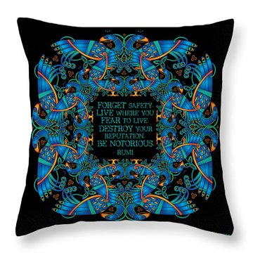 The Notorious Celtic Peacocks Throw Pillow