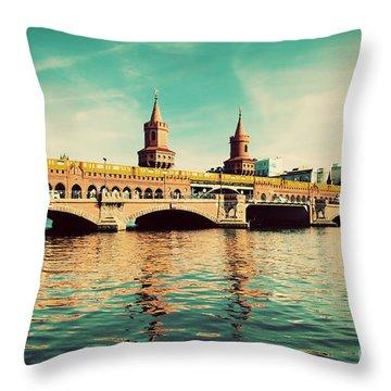 The Oberbaum Bridge In Berlin Germany Throw Pillow by Michal Bednarek