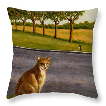 The Obscure Communication Between Cats Throw Pillow