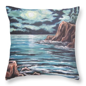 Throw Pillow featuring the painting The Ocean's Quiet Beauty by Cheryl Pettigrew