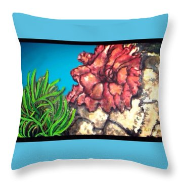 Throw Pillow featuring the painting The Odd Couple Two Very Different Sea Anemones Cohabitat by Kimberlee Baxter