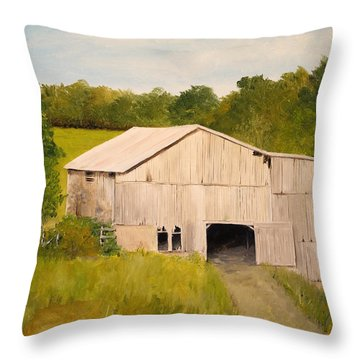 Throw Pillow featuring the painting The Old Barn by Alan Lakin
