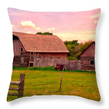 The Old Barn Throw Pillow by Michael Pickett