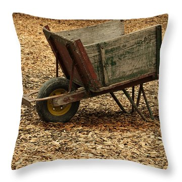 The Old Barn Wagon Throw Pillow