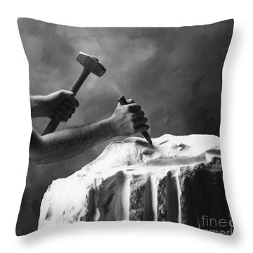 Throw Pillow featuring the photograph Chipping The Old Block by Mark Greenberg