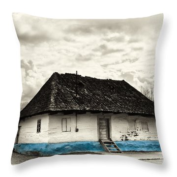 The  Old Blue House -1342  Throw Pillow by Dorin Stef