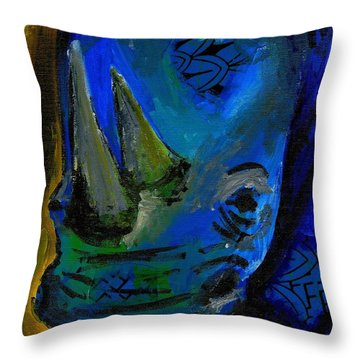 The Old Blue Rhino Throw Pillow