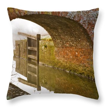The Old Bridge And Lock Gates Throw Pillow by Trevor Chriss