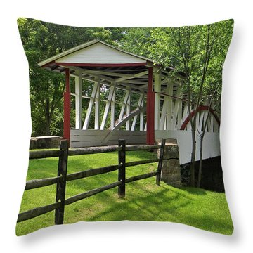 The Old Covered Bridge Throw Pillow by Jean Goodwin Brooks