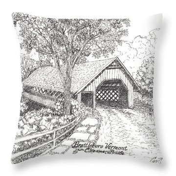Throw Pillow featuring the drawing The Old Creamery Bridge Brattleboro Vt Pen Ink by Carol Wisniewski