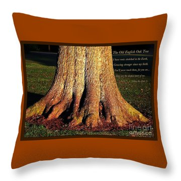 The Old English Oak Tree Throw Pillow