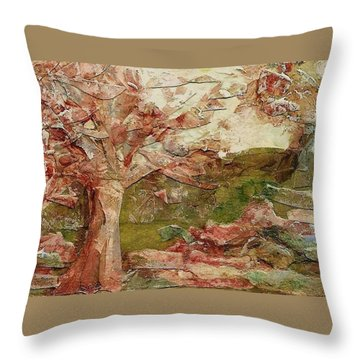 Throw Pillow featuring the painting The Old Fence Line by Mary Wolf