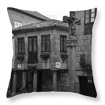 The Old Firewood Marketplace Bw Throw Pillow