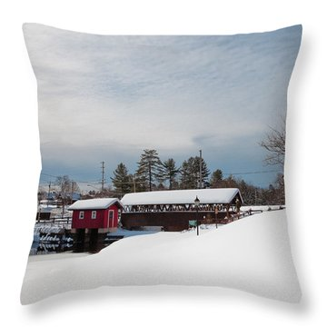 The Old Forge Covered Bridge Throw Pillow