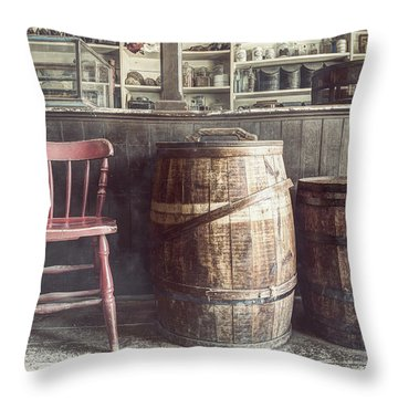 The Old General Store - Red Chair And Barrels In This 19th Century Store Throw Pillow