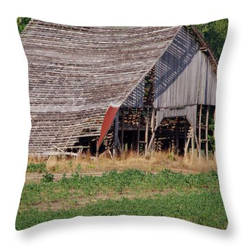 Throw Pillow featuring the photograph The Old Gray Barn by Nick Kirby
