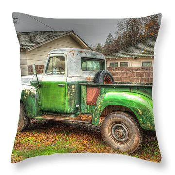 Throw Pillow featuring the photograph The Old Green Truck by Jim Thompson