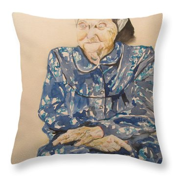 The Old Holocaust Survivor Throw Pillow by Esther Newman-Cohen