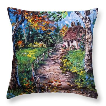 Throw Pillow featuring the painting The Old Homestead by Megan Walsh
