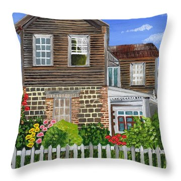 Throw Pillow featuring the painting The Old House by Laura Forde