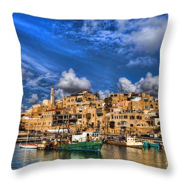 Throw Pillow featuring the photograph the old Jaffa port by Ron Shoshani