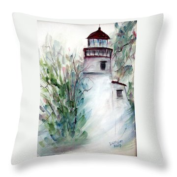 Throw Pillow featuring the painting The Old Lighthouse by Dorothy Maier