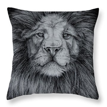 The Old Lion Throw Pillow by Jean Cormier