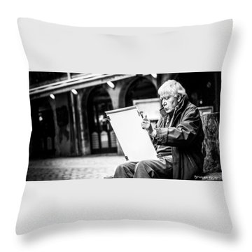 Throw Pillow featuring the photograph The Old Man Painter II by Stwayne Keubrick