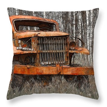 The Old Military Truck Throw Pillow