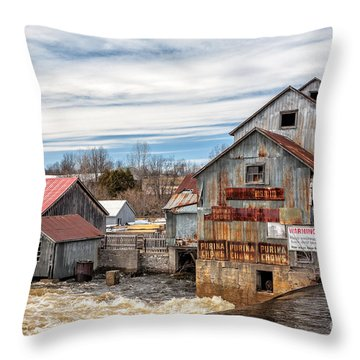 The Old Mill And The Raging River Throw Pillow