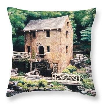 The Old Mill Throw Pillow