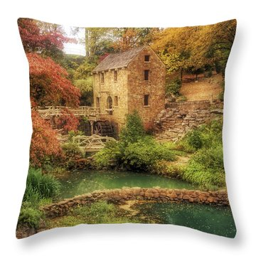 The Old Mill In Autumn - Arkansas - North Little Rock Throw Pillow