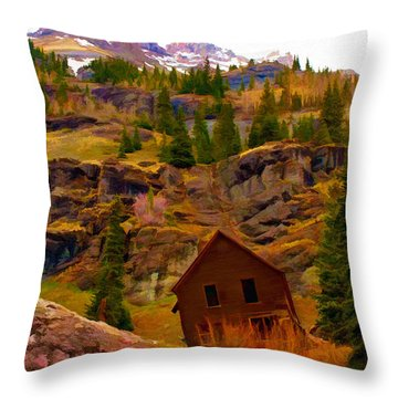 The Old Miners House Throw Pillow
