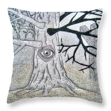 Throw Pillow featuring the drawing The Old Oak Tree by Yury Bashkin