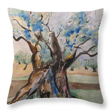 The Old Olive Tree Throw Pillow by Esther Newman-Cohen